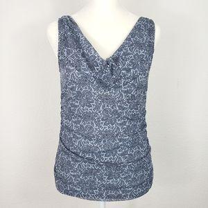 Michael Kors blue grey sleeveless cowl neck blouse